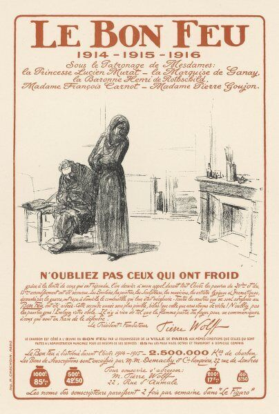 'Don't forget those who are cold' - a charity poster in wartime France