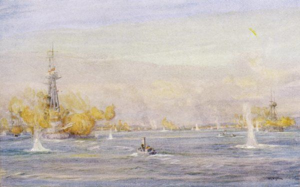 Ships of the allied forces bombard Turkish batteries at Chanak. Date: 18 March 1915