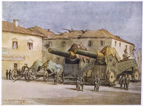 Heavy artillery in an Italian village on the front line