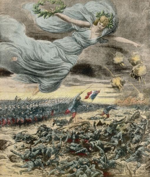 The battle of the Marne. French troops repel German forces, urged on by French national symbol, Marianne