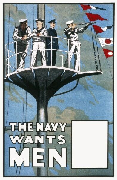 Naval recruitment poster from World War One featuring a number of sailors in a crow's nest of a ship