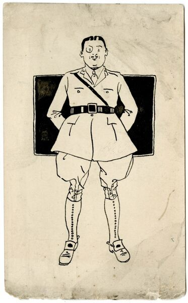 A stereotypical view of a British officer in uniform, with breeches, puttees and monocle. Drawn by amateur soldier artist of the Great War, George Ranstead