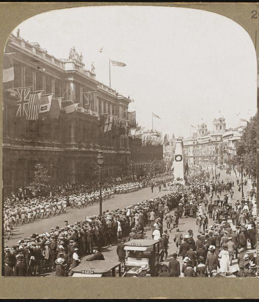 World War One Peace Procession of Indian troops saluting the Unknown Warrior at the Cenotaph, Whitehall, London