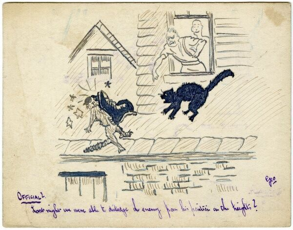 Humorous illustration on a postcard by amateur soldier artist of the Great War, George Ranstead