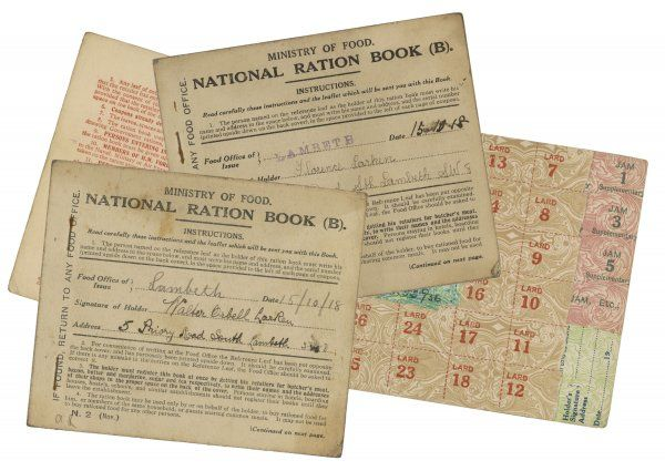RATIONING National ration books from the Ministry of Food
