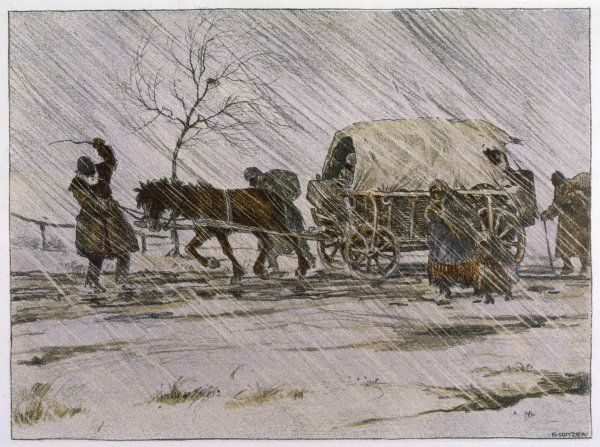 Refugees struggle through harsh weather, their belongings carried in a horse- drawn wagon