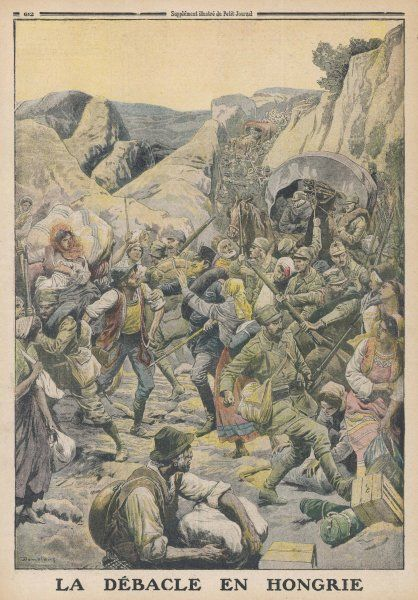 Austrians retreat in the face of Russian advances in Hungary. Date: 1916