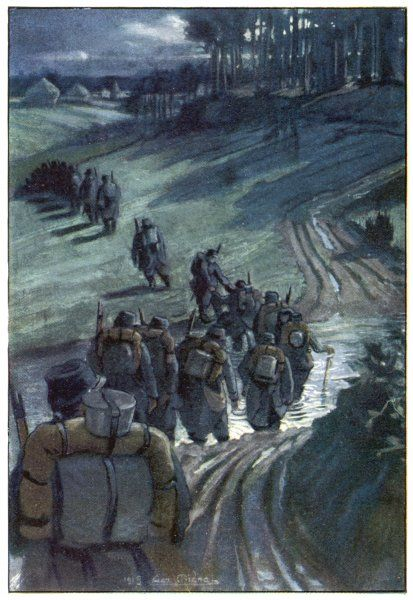 French troops cross a ford on their way to the front line trenches