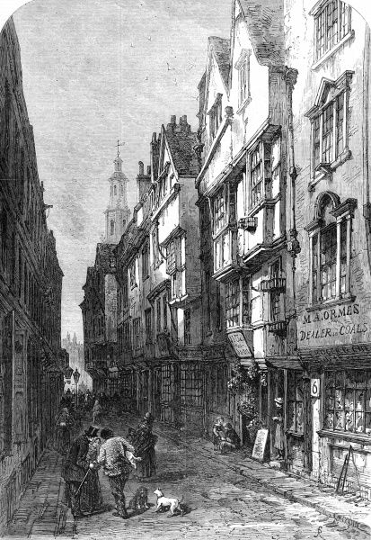 Engraving showing Wych Street, off the Strand, London in 1870