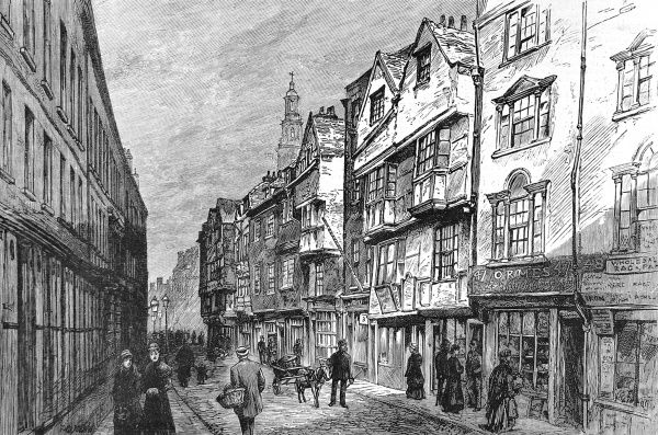 Engraving showing a number of the older buildings of Wych Street, London, which were demolished c.1884