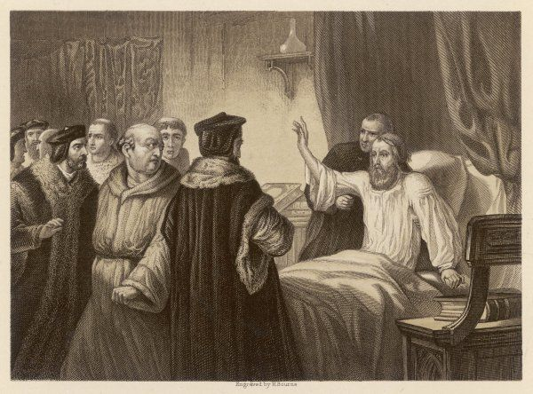 JOHN WYCLIF on his sickbed at Oxford in 1378, the religious reformer is assailed by friars who are not of his way of thinking Date: 1324 - 1384
