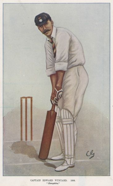 Edward Wynyard, English cricketer and Captain for Hampshire, seen here at the wicket