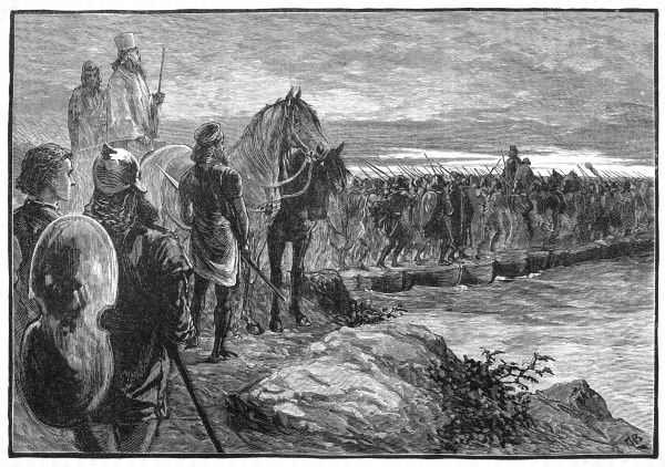Xerxes, ruler of Persia, invades Greece : his troops cross the Hellespont on a bridge of boats