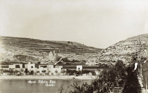 Xlendi Bay - Gozo - Malta. This site is now very developed - the smallholding (centre) replaced by a large Hotel! Date: circa 1920s