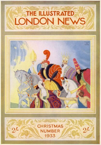 Front cover of the Illustrated London News Christmas number from 1933 showing a stylised Three Kings
