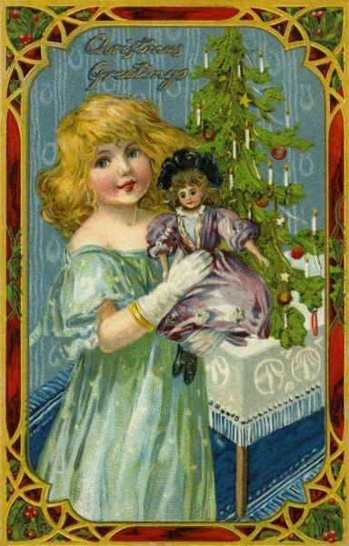 Xmas. Girl with doll by Ellen Andrews. Ellen Jessie Andrews (1857-1907) was a prolific illustrator for Raphael Tuck. Date: circa 1907
