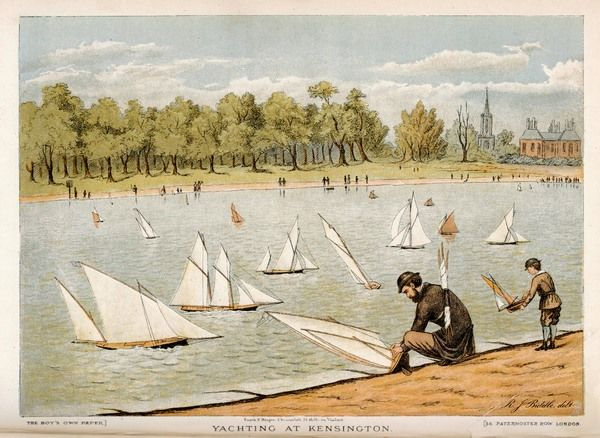 Sailing model yachts on the Serpentine in Kensington Gardens, Hyde Park