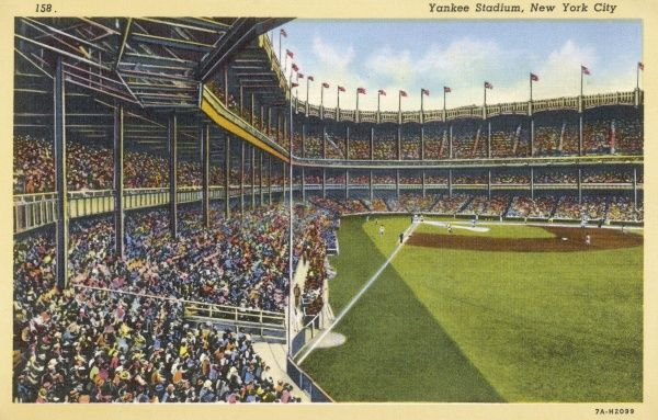 A view of the interior of the original Yankee Stadium in The Bronx in New York City