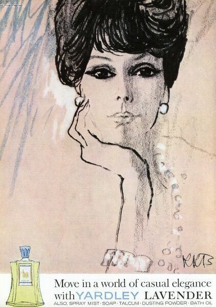 Advertisement for the Lavender range of fragrances and bathroom products by Yardley, featuring an illustration of a pensive woman with large doe eyes. Date: 1962