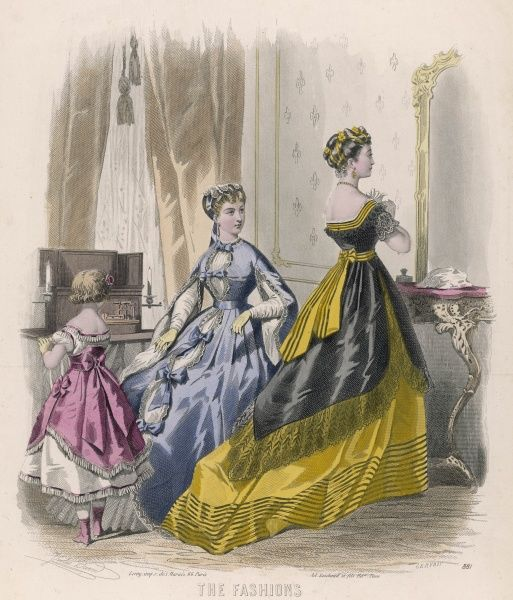 Pink corselet & tunic over a white dress. Blue open dress fastened with bows & sleeves open from the shoulder. Yellow dress: square bodice, open sided tunic & trained skirt