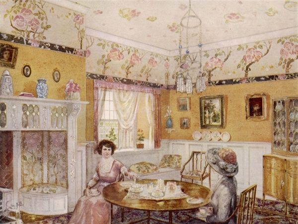 Two ladies take tea in a yellow style drawing room. China is displayed in a cabinet and many pictures hang in the walls