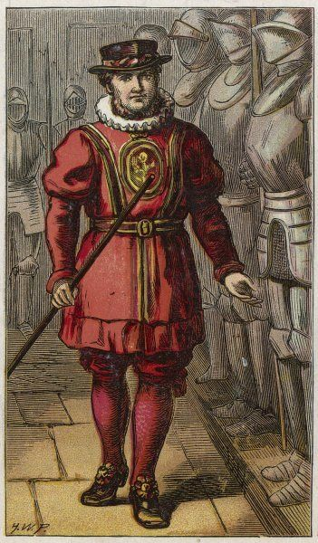 London characters: a Yeoman of the Guard, or 'beef- eater', who when he isn't guarding the Tower of London from Britain's foes is kept busy answering sightseers' questions