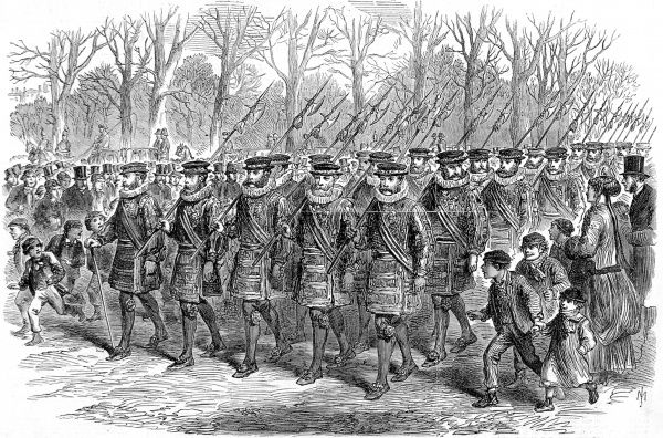 Engraving showing a troop of the Yeomen of the Guard marching through London, to Buckingham Palace, 1869