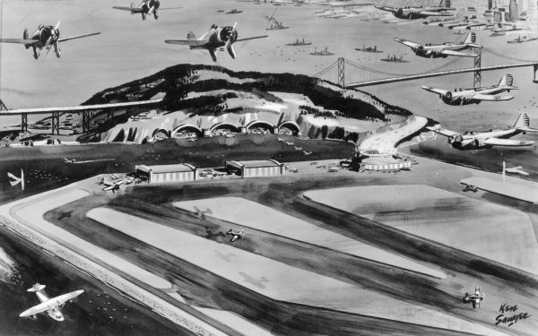 Plans for the island of Yerba Buena, San Francisco, U.S.A. to be turned into a harbour airport and runways for the U.S. airforce, with tunnels serving as bomb-proof hangars Date: 1940s