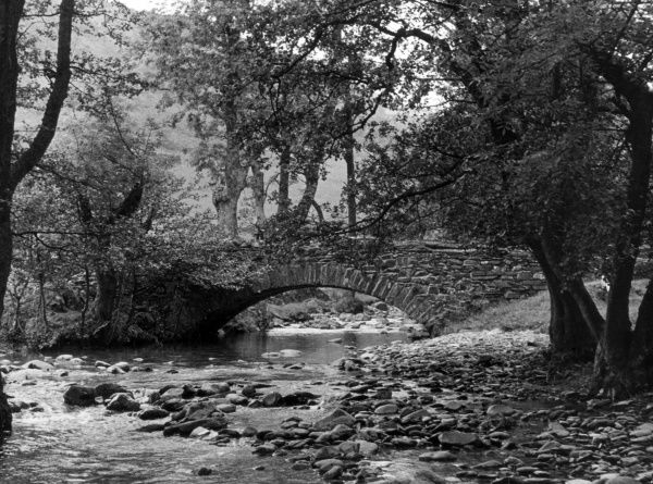The ancient Shepherds Bridge, Yewdale, Consiston, Cumbria, England. Date: medieval