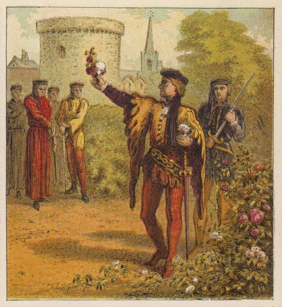 Opposing nobles choose white or red roses depending on whether they favour the House of York or the House of Lancaster