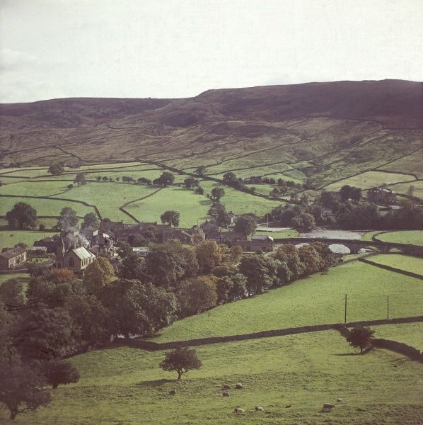Wensleydale, West Riding of Yorkshire, England, showing Burnsall and Thorpe Fell. Date: 1960s