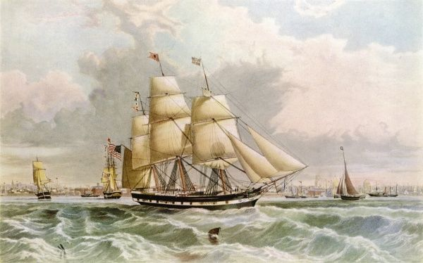 American packet ship, depicted arriving at Liverpool after crossing the Atlantic from New York