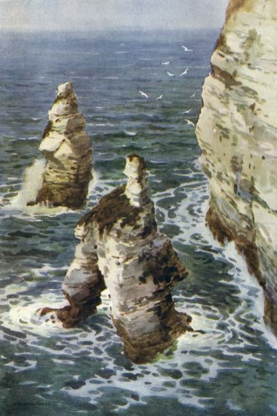 The Yorkshire coast at Flamborough Head, the King and Queen Rocks. Date: circa 1909