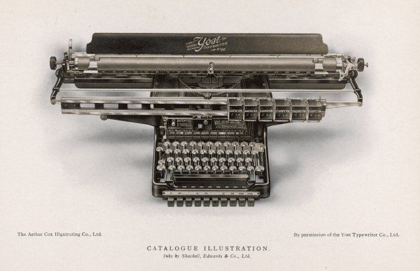 Yost typewriter with extra-wide carriage