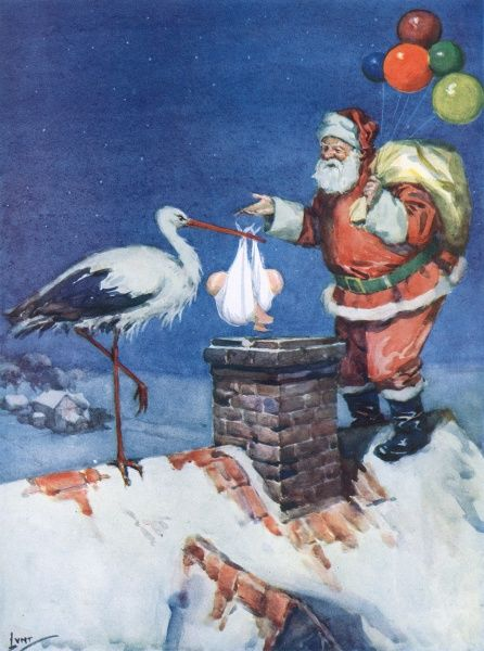 Arrival of Father Christmas and a stork, both with Christmas deliveries Date: 1927