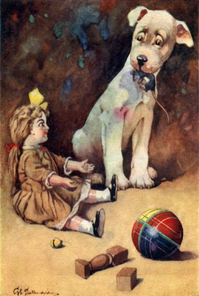 Dog with dead mouse presenting it to a toy doll. Date: circa 1920