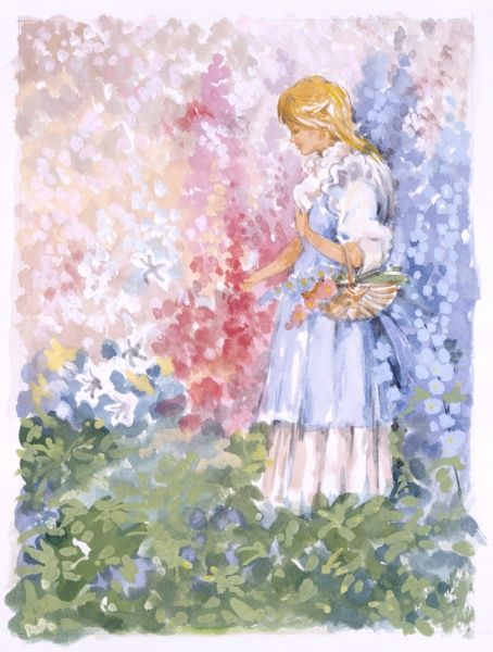 A young girl with long flowing blonde locks and wearing a sky blue dress, picks blooms of many colours in a lush garden. Watercolour painting by Malcolm Greensmith