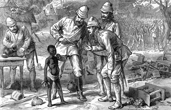 The last in Kumasi - a young boy eating bananas while a British officer tries to talk to him. In the background, the British troops are marching away. In 1873, after decades of an uneasy relationship between the British and the Acing people of central Ghana