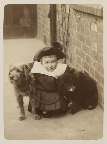 A little boy in a rather flamboyant outfit and tricorn hat, hugs his two pet dogs as he poses for a portrait in his back yard