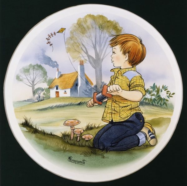 A young boy in a yellow check shirt with shoulder patches flies a kite on a reel of twine whilst kneeling at the base of a low hill amongst the mushrooms below his cottage home. Ink drawing with watercolour wash by Malcolm Greensmith