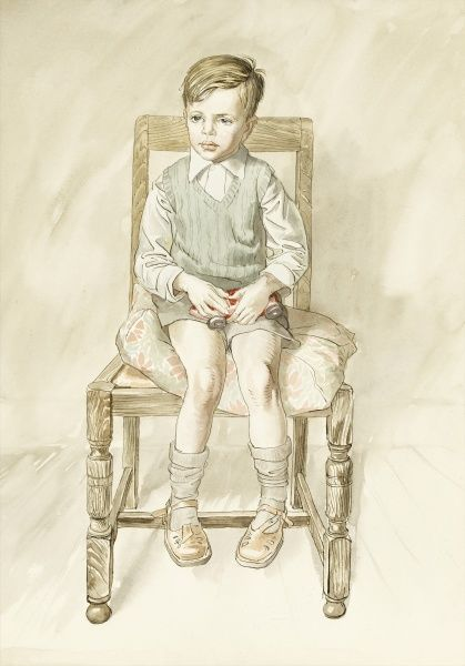 A study of a young boy, seated in a high-backed wooden chair, clutching his favourite model racing car. Watercolour painting by Raymond Sheppard