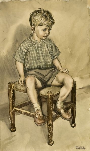 A watercolour painting of a young boy seated on a four-legged stool by Raymond Sheppard