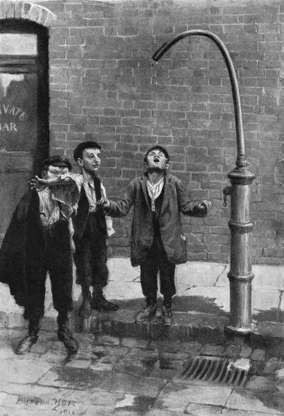 This illustration entitled 'Thirsty little souls' shows one of the places at which London water carts were filled. Here three young boys from very poor backgrounds quench their thirst drop by drop from the leaking tap