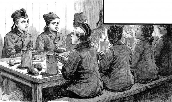 Engraving showing emigrant boys from 'Dr. Stephenson's Home' singing Grace before a meal on board an Atlantic steamship, 1884. The boys are shown in uniform with Scottish hats singing before they start to eat at the table