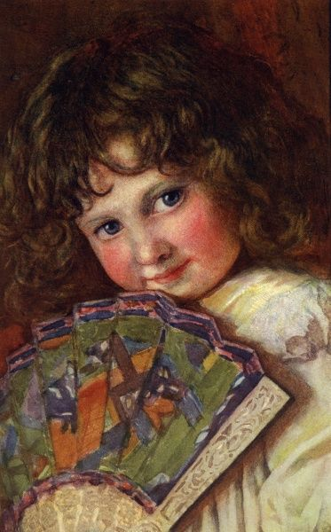 Young girl with fan. Illustrated by Vernon H Smith. Date: circa 1910