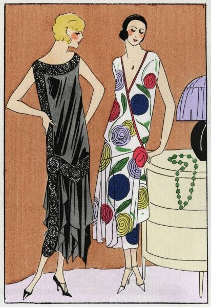 Two fashionable young ladies in sleeveless afternoon dresses by Doucet