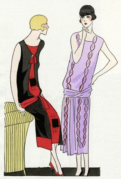 Two fashionable young ladies in the latest sleeveless dresses. On the left, a dress in black and red satin crepe with geometrical designs, by Martial et Armand. On the right, a mauve crepe dress with red and silver decoration, by Worth