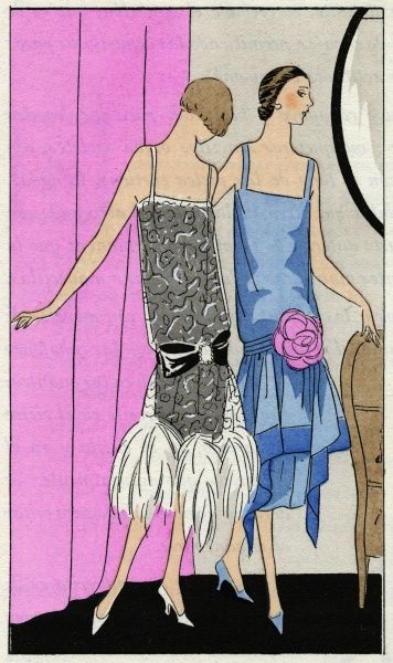 Two fashionable young ladies in sleeveless dresses by Molyneux. On the left, in grey, white and black, with white ostrich feathers at the hem. On the right, blue with a pink flower at the hip