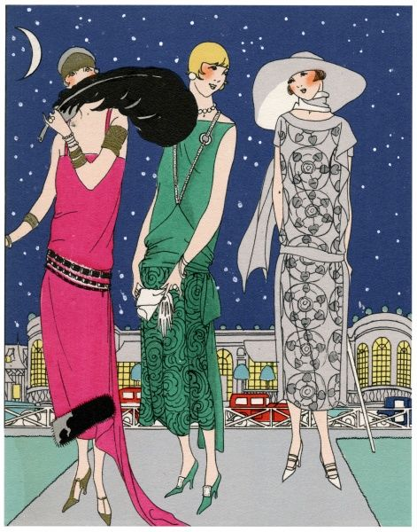 Three fashionable young ladies in evening outfits by Worth. On the left, a casino dress in bright pink satin crepe with black fur border and jet black belt. In the middle, a dress in green satin crepe with matching guipure lace on the skirt