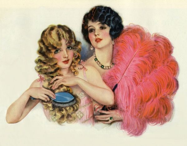 Two young ladies with feather boas. Illustrator Anon. From a contemporary colour editorial